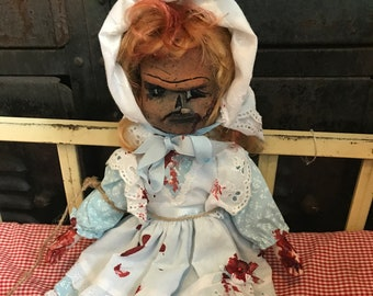 Creepy OOAK Doll Pumpkin head doll PUNKIN