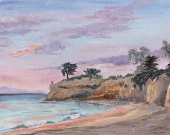 Plein Air Oil Painting - Sunset at Shoreline Park