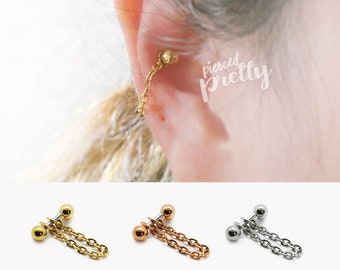 16g 14g Conch chain earring, conch hoop earring, helix earring, ear cartilage chain rose gold earring 316l surgical Steel, Sold individually