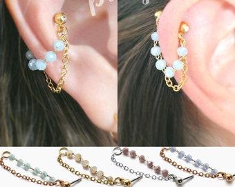16g 20g Opal crystal  conch double chain earring Helix conch hoop earring ear cartilage chain dangle earring jewelry 304 Stainless Steel 1pc