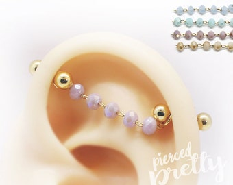 16g 14g Opal industrial chain 2 studs earrings, Rose gold Two hole chain ear studs, Comfortable 2 studs chain earrings, 316l surgical Steel