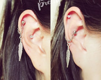 Feather conch chain earring, conch hoop earring, helix earring, ear cartilage chain dangle earring jewelry,304 Stainless Steel Sold as piece