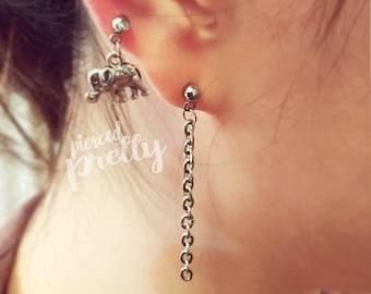Simple chain earring, helix earring, 20g 16g ear cartilage chain jewelry, 304 / 316l Stainless Steel, Men earrings, Men piercing jewelry
