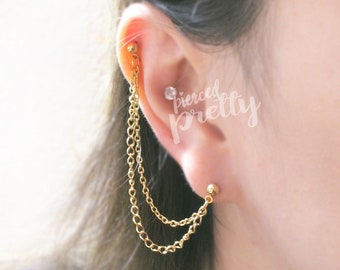 20g 16g Helix to lobe chain earring helix double chain earring, ear cartilage chain jewelry, Rose Gold, gold, 304/ 316l Stainless Steel, 1pc