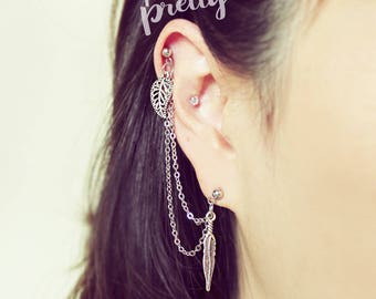 20g 16g Leaf Feather helix to lobe chain earring, Helix dangle double chain earring ear cartilage piercing jewelry 304/ 316l stainless steel