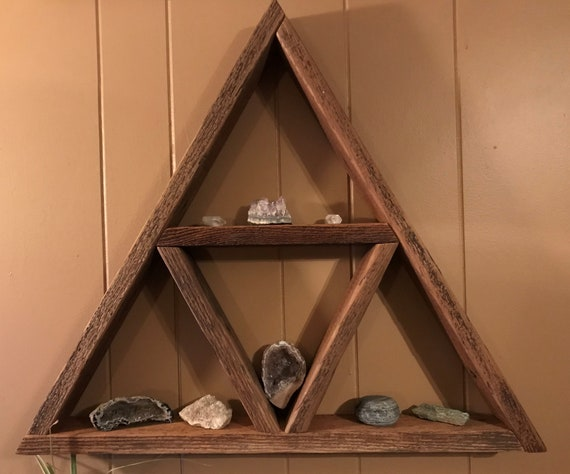 Rustic Reclaimed Old Growth Barn Wood Triangle Shelf Great For Etsy