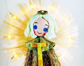 Vintage Christmas 1960's Angel ~ Light Up Tree Topper ~ Stocking Face and  Yarn hair ~ Kawaii