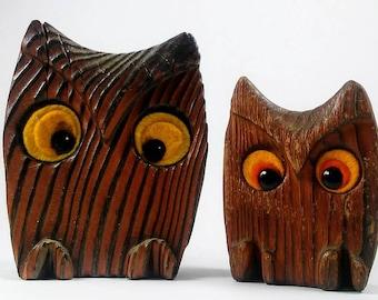Owls Cute 1970's  Wood