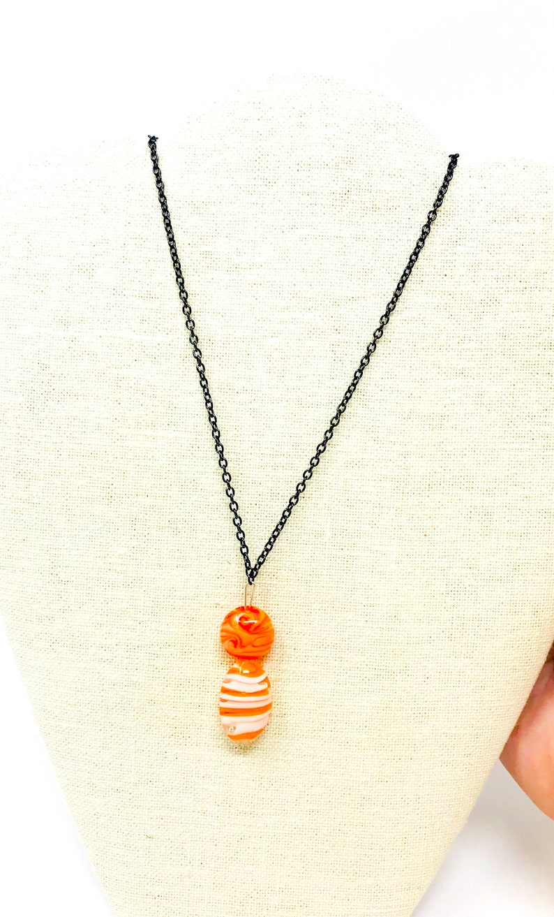 Earring and Necklace Set One of a Kind Orange Creamsicle
