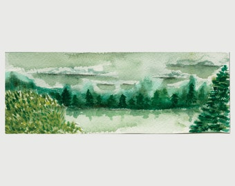 Original Watercolor - Misty Pond Reflection Painting