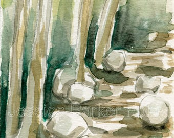 Watercolor Giclée Print - Wooded Vermont Stream