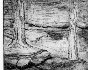 Pond with Mountains and Cedar Trees Original Etching