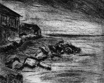 Original Etching - Misty Morning on Rocky Coast