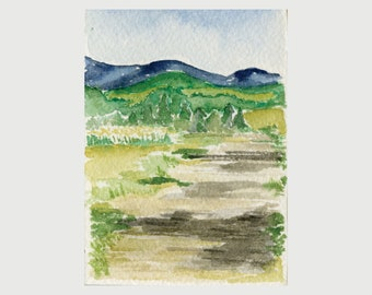 Original Framed Watercolor - Dirt Road with Mountains Vermont Painting
