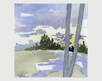 "Original Watercolor - ""West Meadow II"""