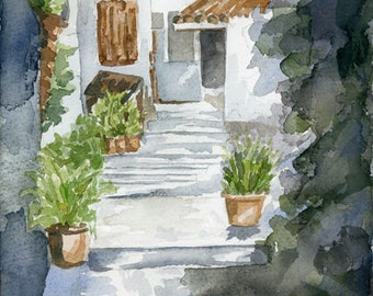 "Original Watercolor - ""Path with Potted Plants"""