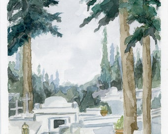 "Original Watercolor - ""First Cemetery of Athens"""