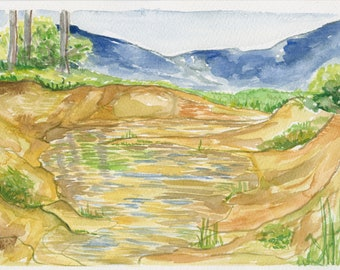 Original Framed Watercolor - Riverbed with Mountains Vermont Painting