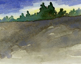 "Original Watercolor - ""West Meadow III"""