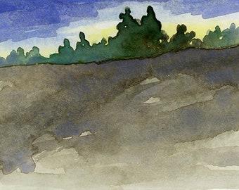 """Original Watercolor - """"West Meadow III"""""""