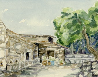 "Original Watercolor - ""Church on Filopappou Hill"""