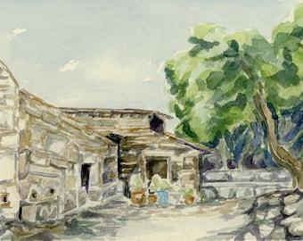 "Original Watercolor - ""Church on Filopappou Hill"""