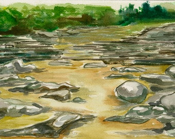 Original Framed Watercolor - River Stones Vermont Landscape Painting