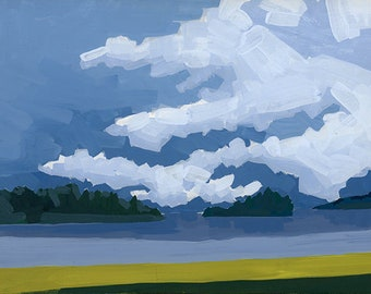 "Original Gouache - ""View from Bar Harbor Green"""