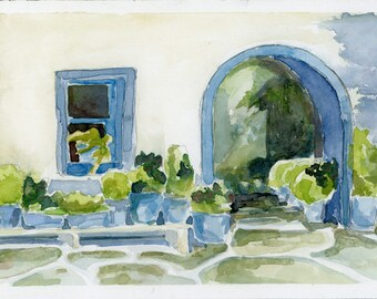 "Original Watercolor - ""Monastery on Kea"""