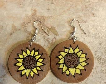 Handmade Wood burned Sunflower Earrings