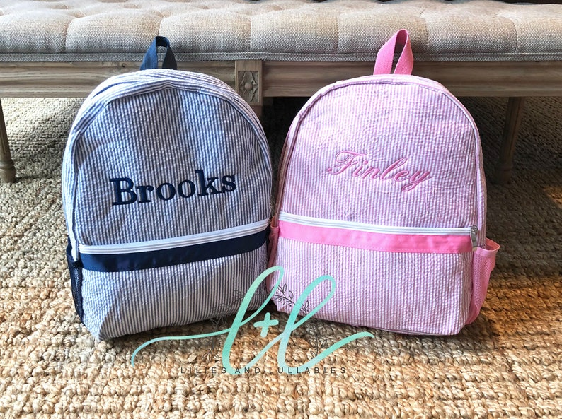 2ddb28d0d928 Monogrammed Seersucker Kids Backpack Seersucker Backpacks