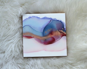 "Alcohol Ink Abstract Painting, Resin, 8""x8"", Blue and Pink"