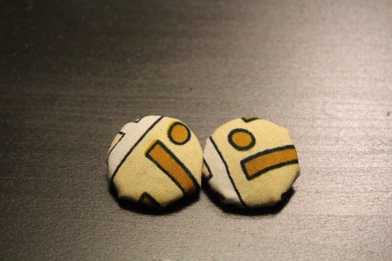 Brown yellow and white kente cloth earrings