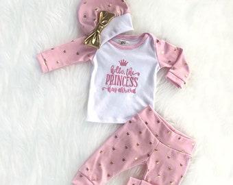 Bébé fille à venir la tenue de la maison / tenue fille de bébé / baby tenue hôpital fille / fille ensemble bébé
