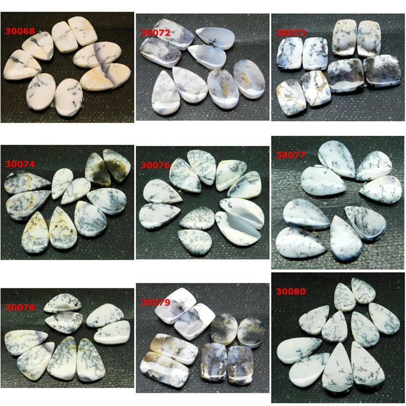 Dendrite Opal pair fantastic Cabochon Lot Natural Gemstone For Jewelry Handmade Loose Gemstones cabochons For Earring  Day Gift