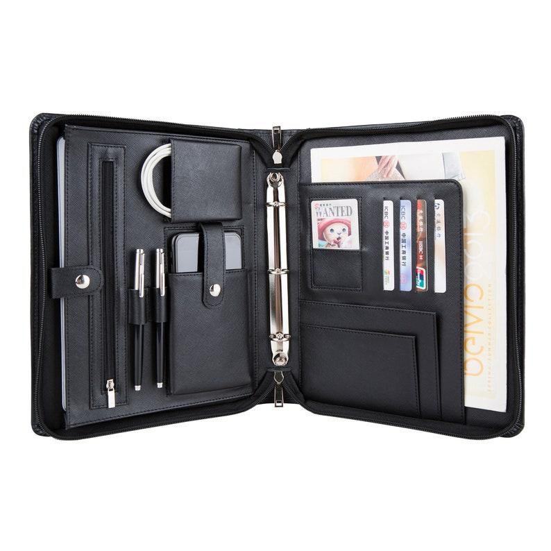 6044dea536fb 3-Ring Binder Genuine Leather Portfolio Tablets Holder | Etsy