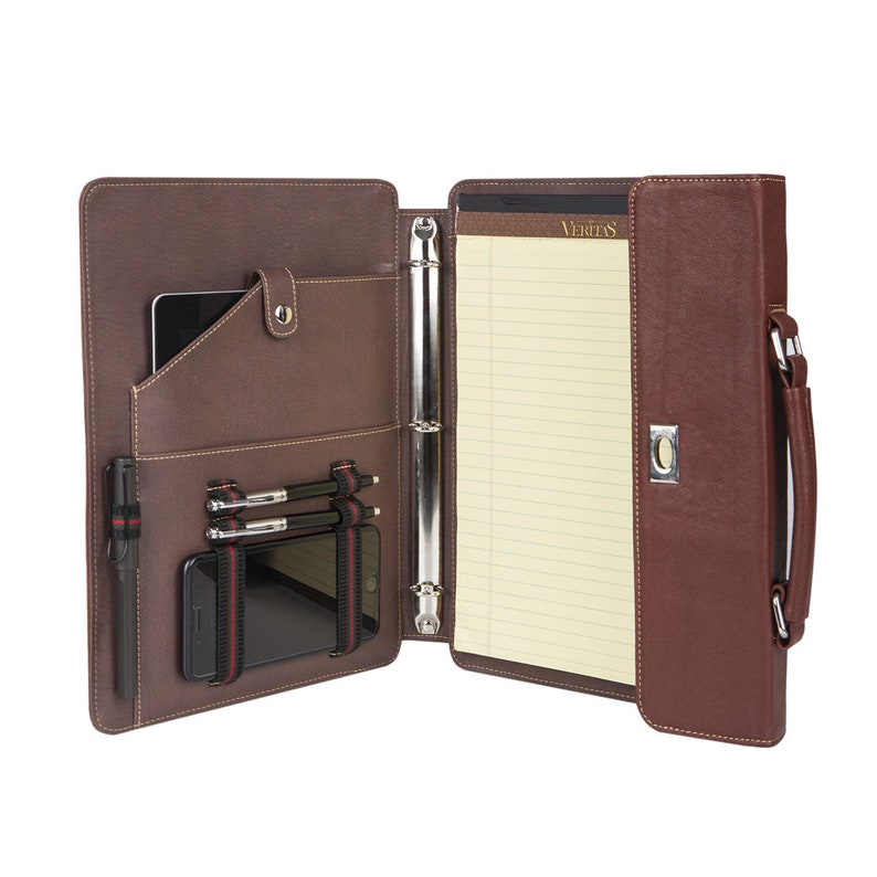 be610abb0f9b Portfolio with 3-Ring Binder, Genuine Leather Padfolio with Handle - Fit  for iPad Pro 9.7