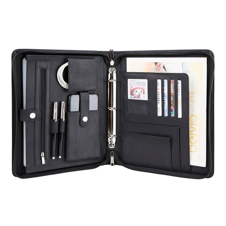 2ccad959acda 3-Ring Binder Crazy Horse Leather Portfolio; Tablets Holder Padfolio Case;  Professional Business Organizer, fits A5 Size Paper