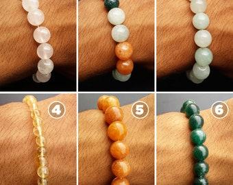 Stackable Gemstone Bracelets, Rose Quartz Bracelet, Green Jade Bracelet, Aventurine Bracelet, Sunstone Bracelet, Citrine Gemstones Bracelet.