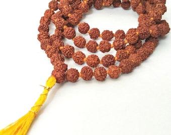 Rudraksha Jaap Mala for Pooja (108+1 Beads)   Astrological Rudraksha 108 Mala Beads   Meditation Yoga Prayer Raiki 5 Mukhi Faces Beads Mala.