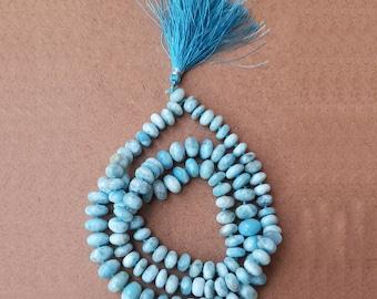 Larimar 108 Knotted Mala 5 to8 MM Mix Size #Larimar Mala Beads #108 Stone Bead Hand-Knotted Malas #Japa Mala #Larimar 108 knotted mala