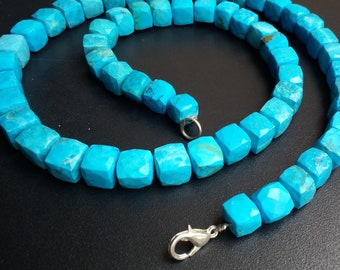 Natural Turquoise 3D Cube Faceted Beads 5-6 mm Turquoise Gemstone Beads Necklace Length 20''Inch Strand,Blue Turquoise Necklace.