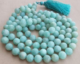Amazonite Mala, 108 Bead Malas, Hand Knotted Necklace, Meditation Necklace, Prayer Necklace, Meditation Jewelry, Hand Knotted 108 Yoga Mala.