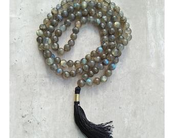 Labradorite 108 Beads Mala, Labradorite Handmade Yoga Mala, Rainbow Labradorite Yoga Japa Mala, Handmade 108 Labradorite Mala Necklace Beads