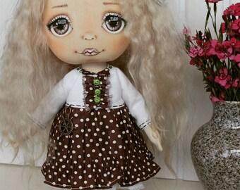 doll Valentineday gift interior doll decor doll birthday gift doll art doll in cloth tilda doll vintage stuffed doll craft textile doll rag