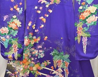 Kimono Purple hand embroidered