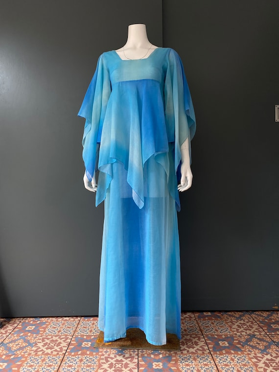 The London Mob blue tie dye angel wing maxi dress