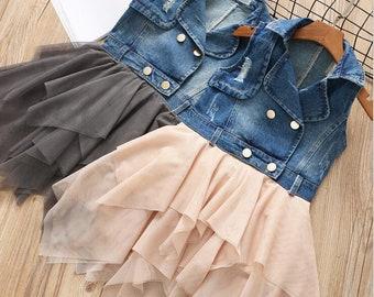 ded1247be51 Fashion Sleeveless Toddler Kids Girl Denim Patchwork Tulle Dress Girl s  Tulle Dress Toddler Tutu Dress