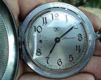 "Soviet ""Molniya"" (Lightning) pocket watch. Men's Watch. Chain. Mechanical antique pocket watch USSR."