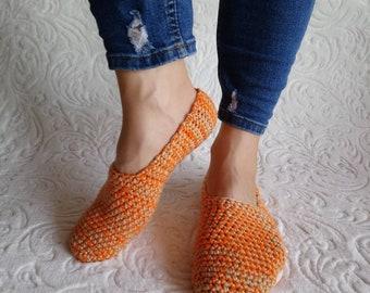 Crochet orange women slippers, Knit slippers, Orange slippers, hand crochet slipper socks, Turkish slippers, Indoor slippers.